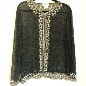 Tops - Vtg Beaded Sequin Jacket Blazer Kimono Black White